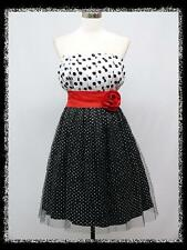 dress190 BLACK POLKA DOT STRAPLESS ROCKABILLY COCKTAIL VINTAGE PARTY PROM DRESS