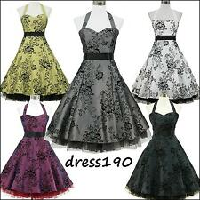 dress190 HALTER FLOCK TATTOO 50s 60s ROCKABILLY VINTAGE PROM PARTY DRESS 8-26
