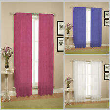BURGUNDY WHITE BLUE - 2 x Sheer Crushed Rod Pocket Curtains - 110x213 cm each