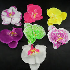 Fabric baby girl clips Orchid flowers for Hawaii Party + crochet skinny headband