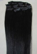 "Factory Outlet Price15-22"" Remy Human Hair Clip In Extensions 7Pcs #1 JET BLACK"