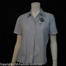 NWT Abercrombie & Fitch Women's Shirt Short Sleeve Striped Blue-White