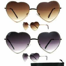 Heart Shape Sunglasses Womens Choose Gold or Silver Love Aviator M9767AP/18 066