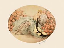 Icart Fashion Blond Lady Roses Flowers Vintage Poster Repro FREE SHIPPING