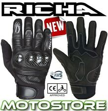 RICHA PROTECT SUMMER LEATHER CARBON BLACK MOTORCYCLE MOTORBIKE GLOVES NEW SHORT
