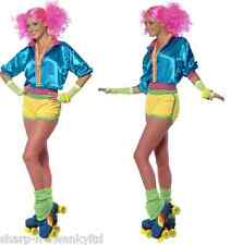 Ladies 1980s Neon Skater Roller Girl Hot Pants Hen Do Fancy Dress Costume Outfit