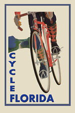 Riding Bicycle Bike Cycles Florida Sport Tourism Vintage Poster Repro FREE S/H