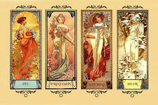 Mucha Four Seasons Winter Spring Summer Autumn Gorgeous Poster Repro FREE S/H