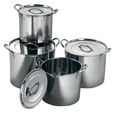 Deep Stainless Steel Casserole Catering Cooking Stockpot Saucepans Soup Stew Pot