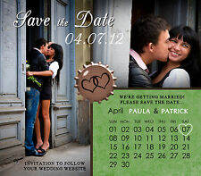 Calendar Heart Save The Date Wedding Magnets With Envelopes Custom Personalized