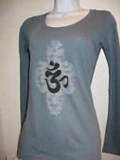 NEW Alternative American Apparel ORGANIC OM AUM Sanskrit long sleeve shirt yoga