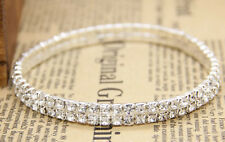 Clear Crystal Rhinestone Stretch Circle Party Wedding Foot Bangle Anklets