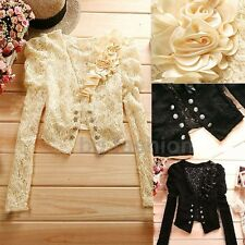 Women Long Sleeve Cardigan Top Hollow Out Lace Shrug Short Coat Blazer Bolero