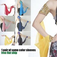 d8o# 1 pair of Brilliant Sequins Performance Belly Dance Arm Chiffon Sleeves