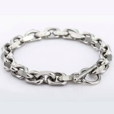 """9mm Mens Boys Chain Cable Link Stainless Steel Bracelet w T/O Toggle 7""""-11inch"""