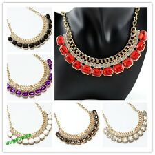 2014 New Stylish Women's Retro Style Clolorful Tone Rhinestone Chain Necklace