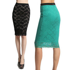 MOGAN Floral Crochet LACE Overlay Stretch PENCIL SKIRT Mid Knee Length Bodycon