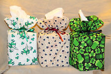 Valentine Day St Patty St Patricks fabric Cube size TISSUE COVER fabric gift bag