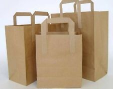 Brown Paper SOS Take-Away Carrier Bags with Tape Handle 3 Sizes Sml/Med/Jumbo