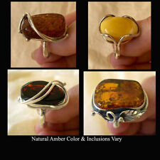 BALTIC HONEY or CHERRY AMBER & STERLING SILVER HANDMADE MODERN RING