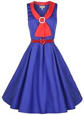 NEW LINDY BOP CHIC VINTAGE 1950s PINUP SAILOR COLLAR FLARED TEA DRESS ROCKABILLY