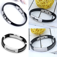 Men's Black Stainless Steel Bracelet Rubber Double Line Wristband Bangle Punk