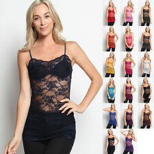 MOGAN BASIC Stretch Sheer Floral LACE Spaghetti Straps TANK TOP Long Cami Tee