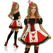 Womens Evil Queen of Hearts Costume Alice In Wonderland Fancy Dress Outfit