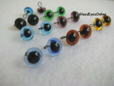7 PAIR 9 or 10mm Glass Eyes Wire Loops Mix Color  teddy bears, sewing  LP-201