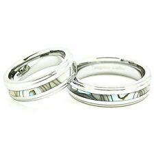 6mm Abalone Shell Inlay Tungsten Carbide Matching Couples Wedding Band (Sz 4-14)