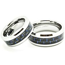 8mm & 9mm Black-Blue Carbon Fiber Tungsten Matching Wedding Band Set (4-17:7-15)