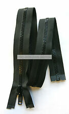 REVERSIBLE CHUNKY PLASTIC OPEN ENDED ZIP NAVY BLUE OR BLACK ( CHOICE OF LENGTH )
