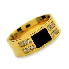 Stainless Steel Gold Colour CZ Stone Mens Ring Size 8 9 10 R430