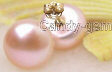 SALE Big 10-11mm Natural Pink Freshwater flat Pearl Earring &14K gold stud-e2410