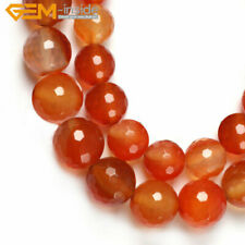 "Natural Gemstone Genuine Red Carnelian Beads For Jewelry Making 15"" Faceted"