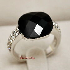 All Size Swarovski Crystal Antique Silver Black Onyx Ring Women Agate Ring R192