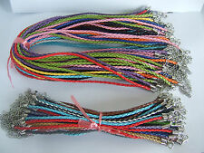 50 Multicolor PU Braid Leather Cord Mixed Necklace/Bracelet Choose Lobster Clasp
