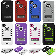 For Apple iPhone 4 4S Rubber IMPACT eNUFF kickstand HYBRID Skin Phone Case Cover