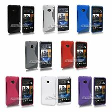 Rubber Gel TPU Silicone Skin Case Cover with S-line for HTC ONE M7