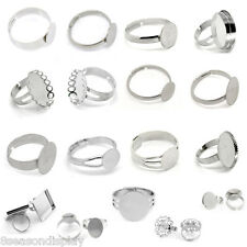 Adjustable Cabochon Setting Rings Silver Tone M1427