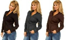 NEW STRETCH COTTON Fitted L.S. BUTTON DOWN SHIRT TOP Black/Gray/Brown~S/M/L~F/S!