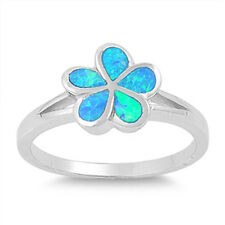 Silver Ring w/ Lab Opal - Plumeria Green /Blue lab Ipal rings Code: RO150372