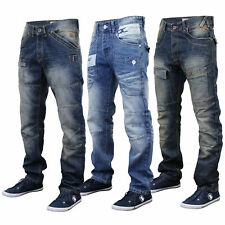 Mens Jeans Rawcraft Denim Tapered Straight Leg Bottom Button Zip Fashion Casual