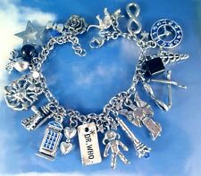 Doctor Who Charms Bracelet BBC DR Steel, Sterling Chain Silver Blue Pewter USA