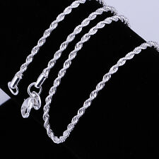 "Wholesale 10pcs 2mm/3mm Rope Necklace Silver Plated Chains 16-24"" Jewelry"