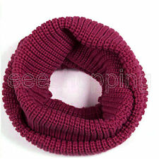 Men Women Winter Warm Infinity 2 Circle Cable Knit Cowl Neck Long Scarf Shawl Ne