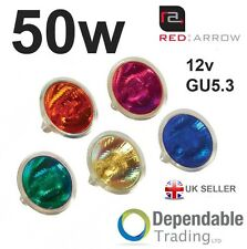 BRANDED MR16 12V COLOURED 50W HALOGEN DICHROIC SPOT LIGHT LAMP / BULB M258