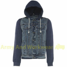 ZICO DENIM JACKET HOODED CLASSIC RETRO STYLE VINTAGE WASH WITH JERSEY SLEEVES