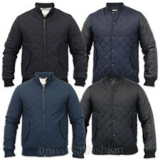 Mens Jacket Brave Soul Coat Quilted Padded Bomber Leather Look Baseball Winter