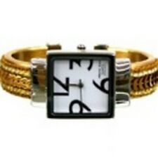 Women's Cuff Fashion Watch by Geneva Square Face Silver Tone Gold Tone Sequins